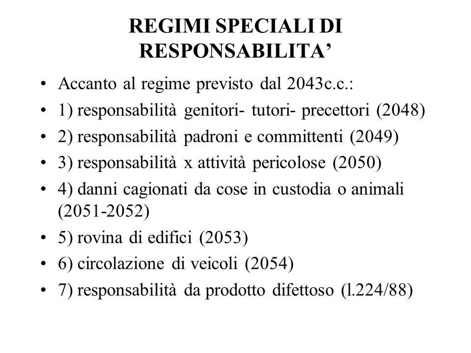 REGIMI SPECIALI DI RESPONSABILITA'