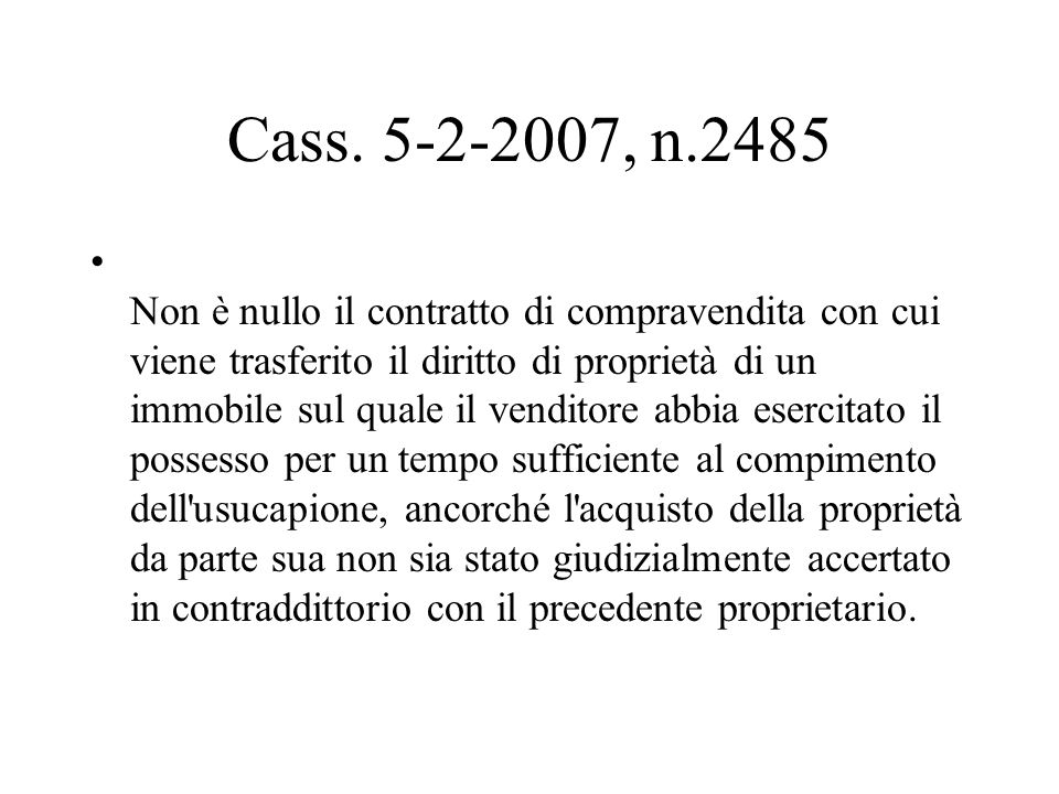 Cass. 5-2-2007, n.2485