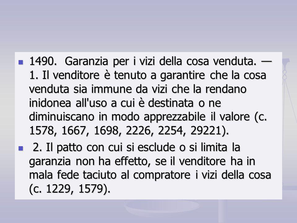 1490. Garanzia per i vizi della cosa venduta. — 1