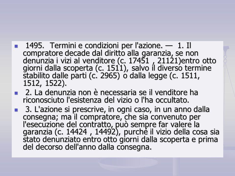 1495. Termini e condizioni per l azione. — 1