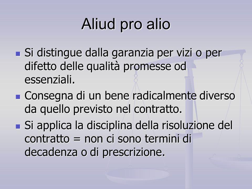Aliud pro alio Si distingue dalla garanzia per vizi o per difetto delle qualità promesse od essenziali.
