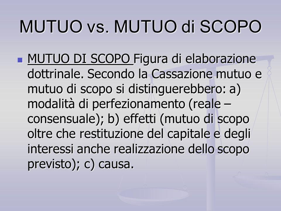 MUTUO vs. MUTUO di SCOPO