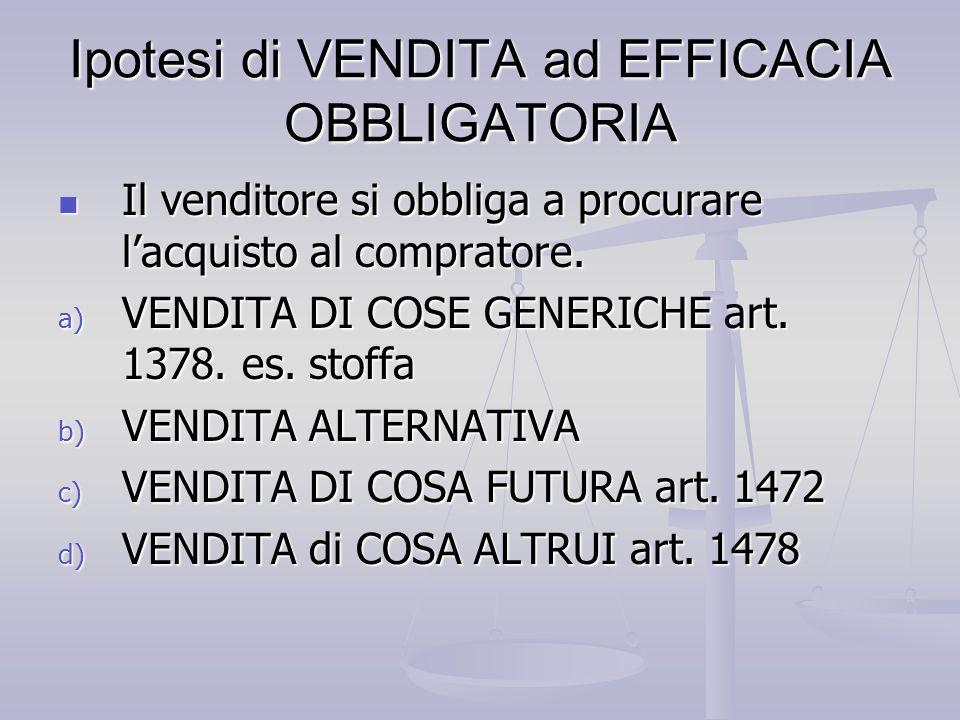 Ipotesi di VENDITA ad EFFICACIA OBBLIGATORIA
