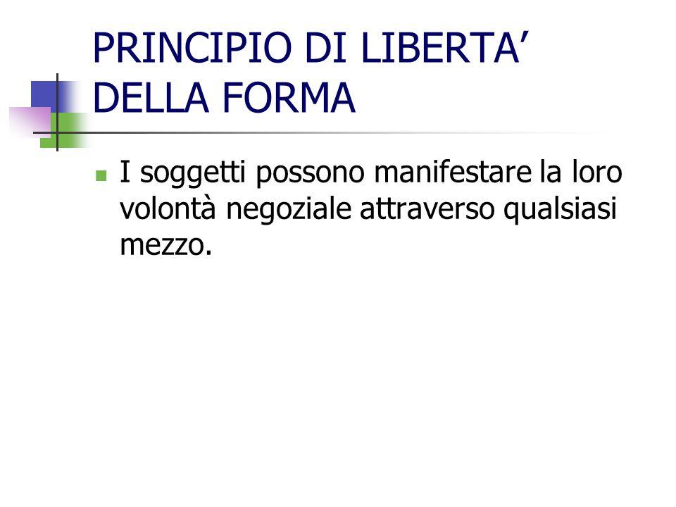 PRINCIPIO DI LIBERTA' DELLA FORMA