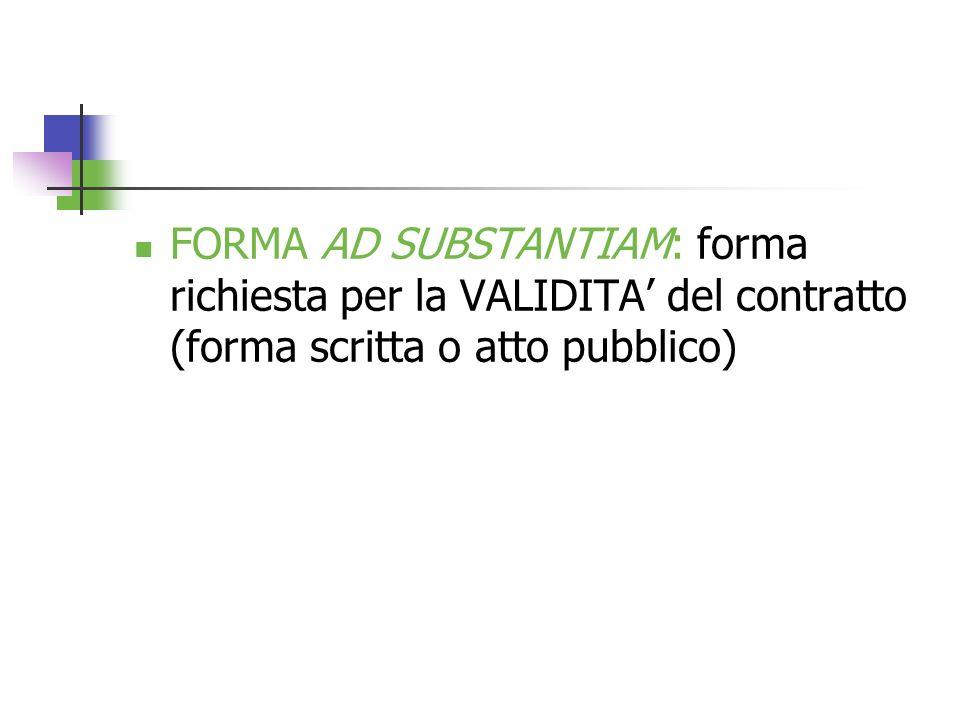 FORMA AD SUBSTANTIAM: forma richiesta per la VALIDITA' del contratto (forma scritta o atto pubblico)