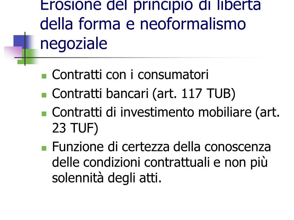 Erosione del principio di libertà della forma e neoformalismo negoziale
