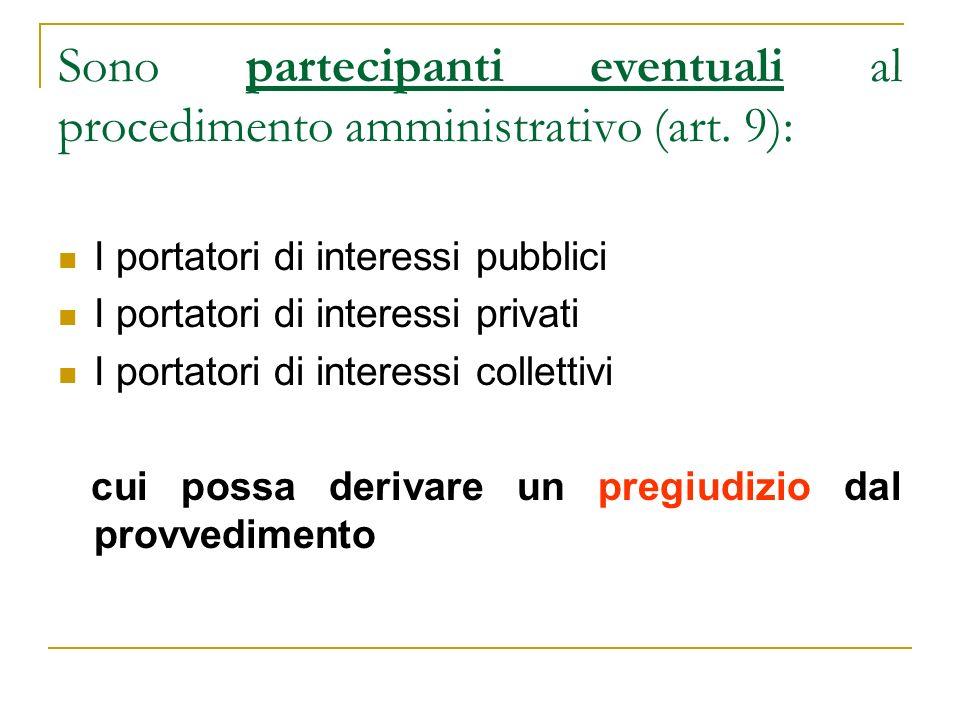 Sono partecipanti eventuali al procedimento amministrativo (art. 9):