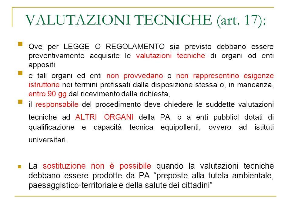 VALUTAZIONI TECNICHE (art. 17):