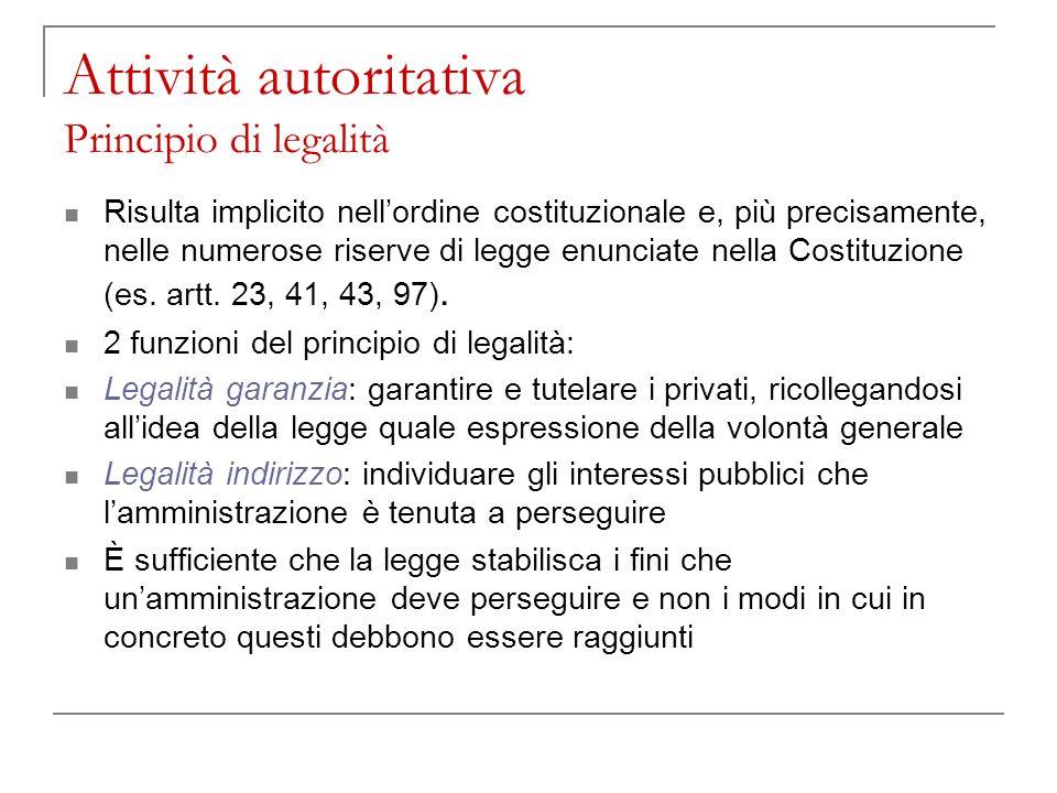 Attività autoritativa Principio di legalità