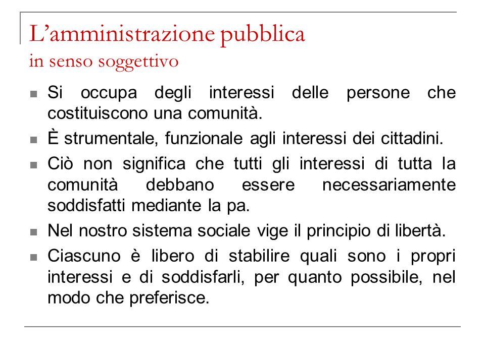 L'amministrazione pubblica in senso soggettivo