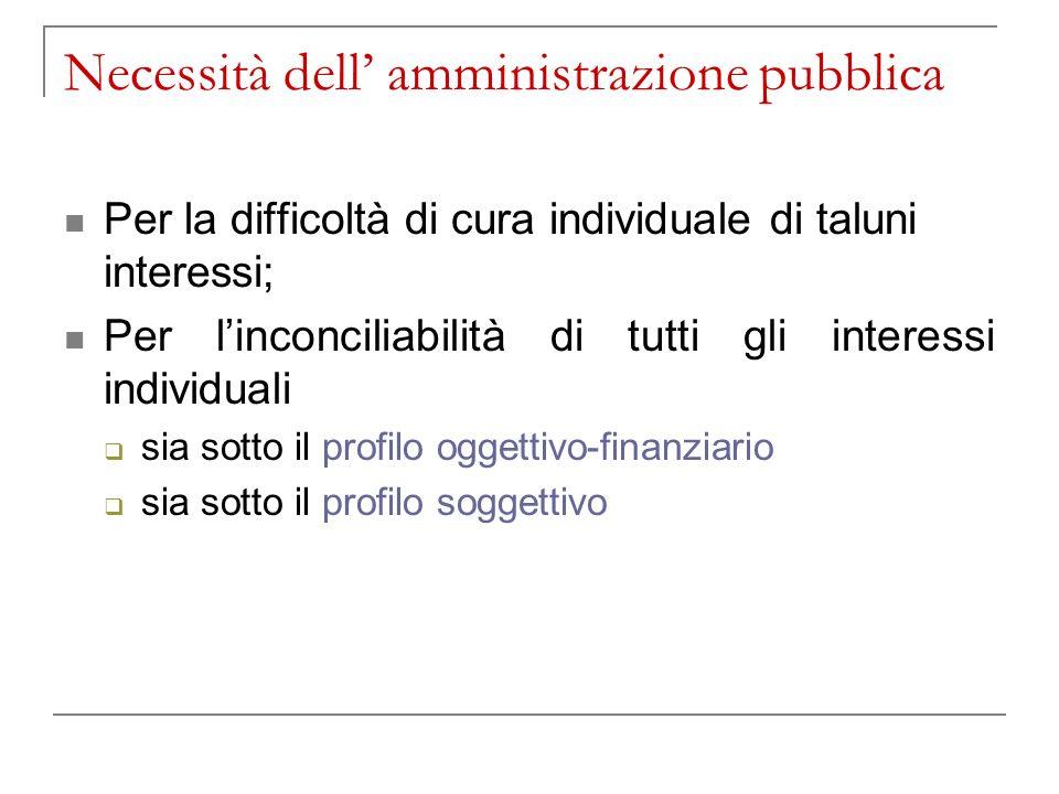 Necessità dell' amministrazione pubblica