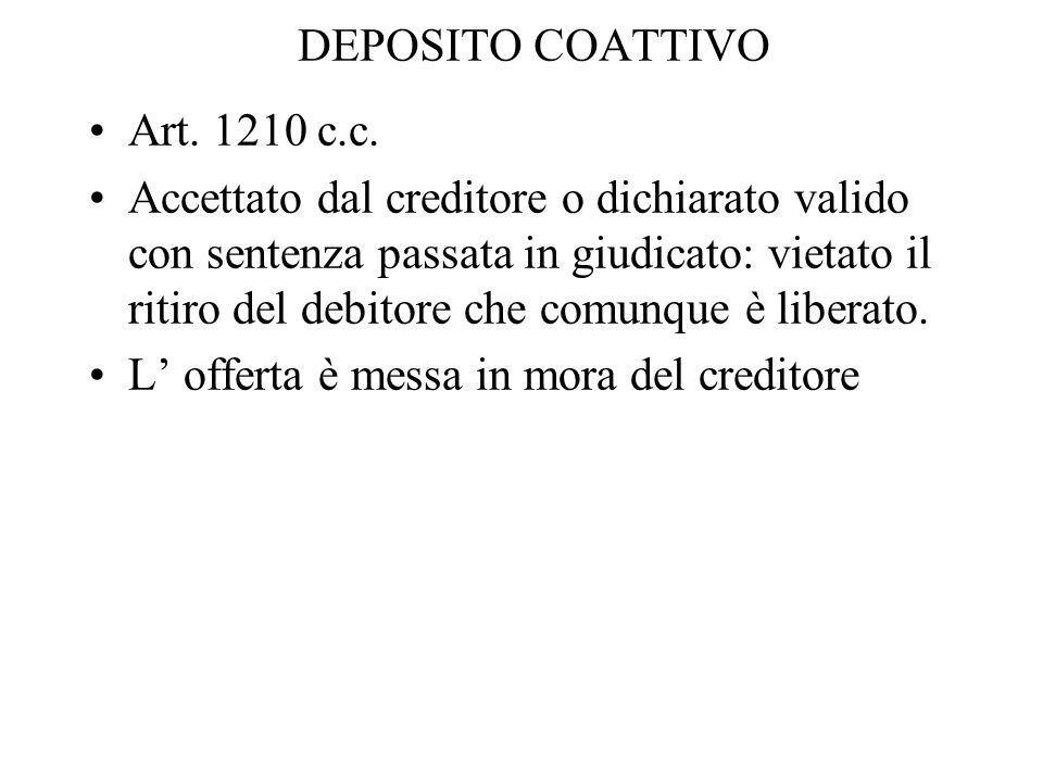 DEPOSITO COATTIVO Art. 1210 c.c.