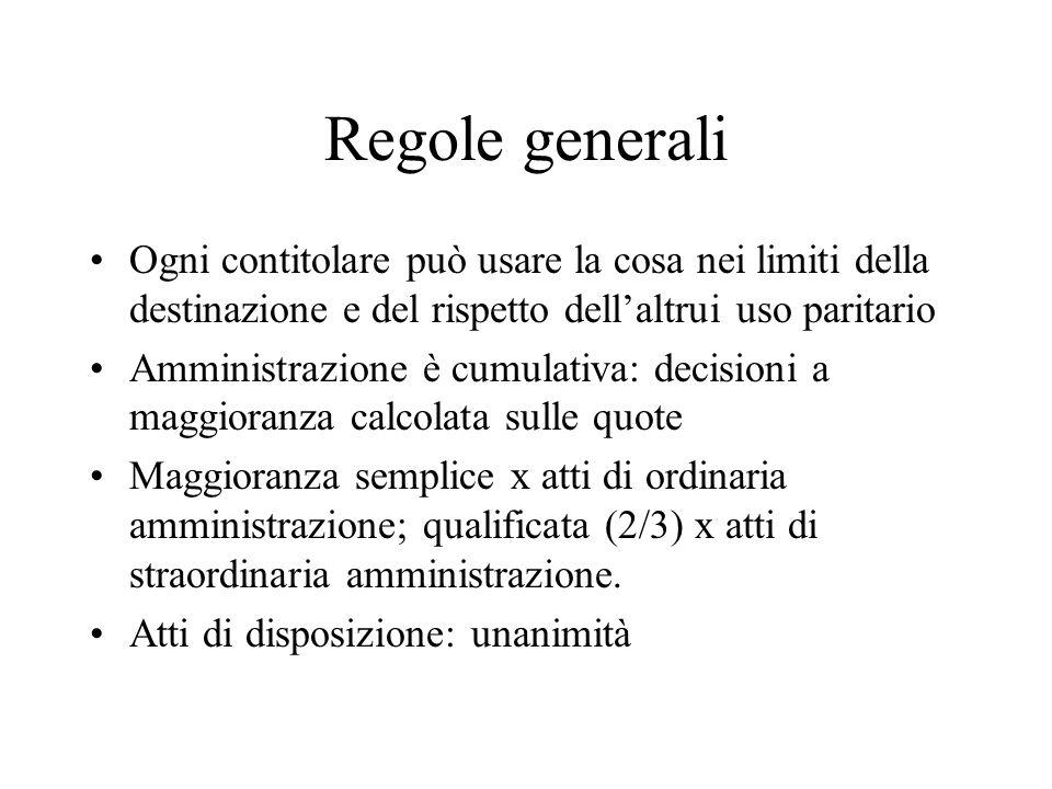 Regole generaliOgni contitolare può usare la cosa nei limiti della destinazione e del rispetto dell'altrui uso paritario.