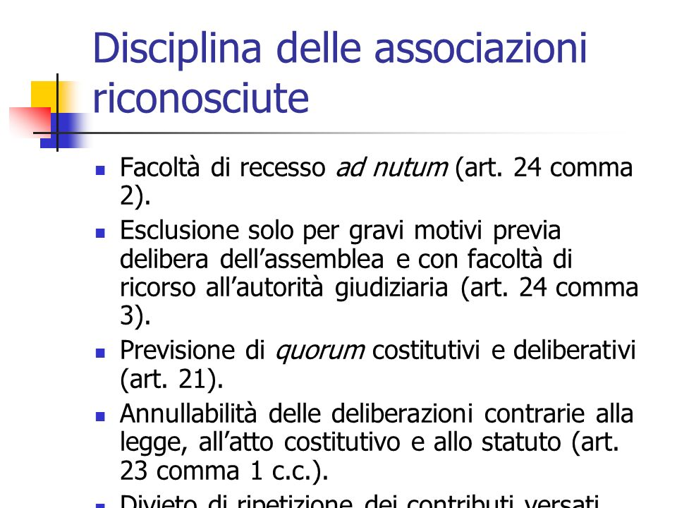Disciplina delle associazioni riconosciute