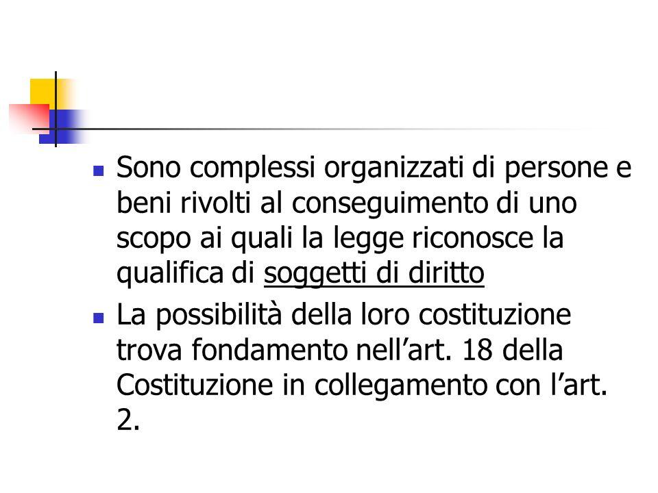 Sono complessi organizzati di persone e beni rivolti al conseguimento di uno scopo ai quali la legge riconosce la qualifica di soggetti di diritto