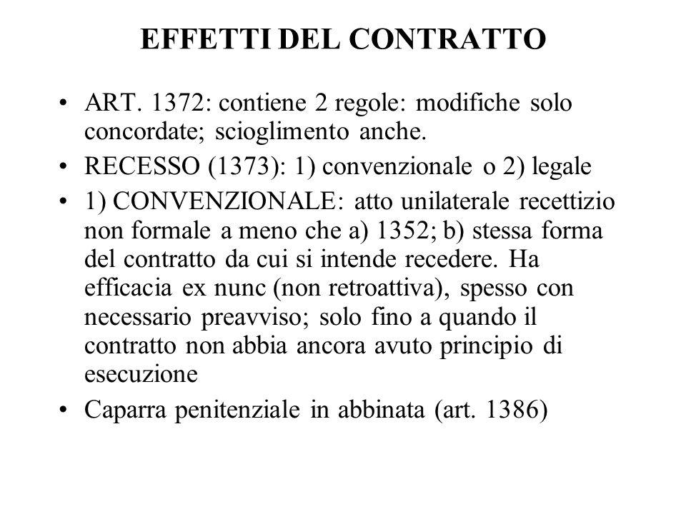 EFFETTI DEL CONTRATTO ART. 1372: contiene 2 regole: modifiche solo concordate; scioglimento anche. RECESSO (1373): 1) convenzionale o 2) legale.