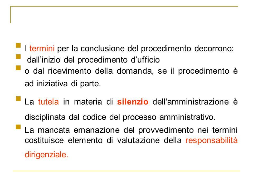 I termini per la conclusione del procedimento decorrono: