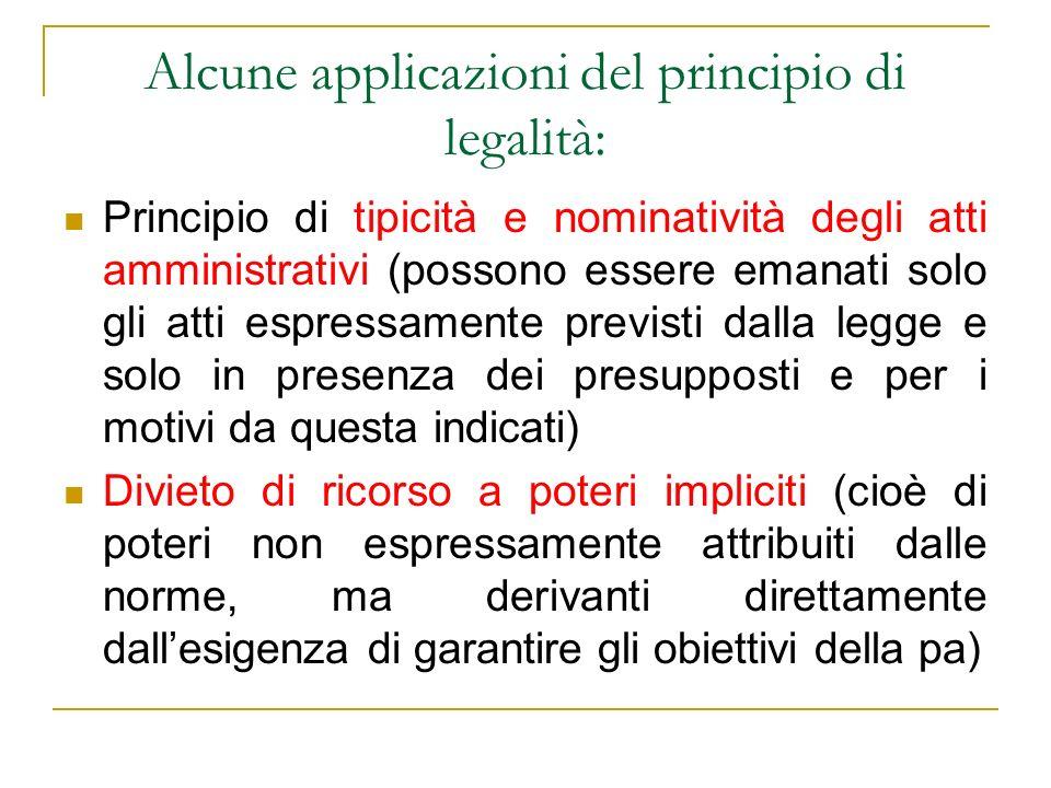 Alcune applicazioni del principio di legalità: