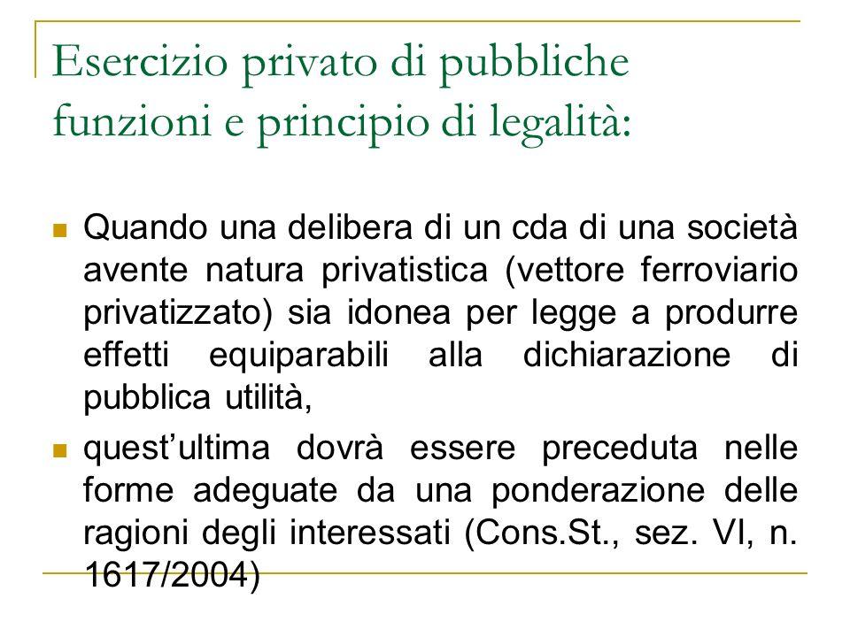 Esercizio privato di pubbliche funzioni e principio di legalità: