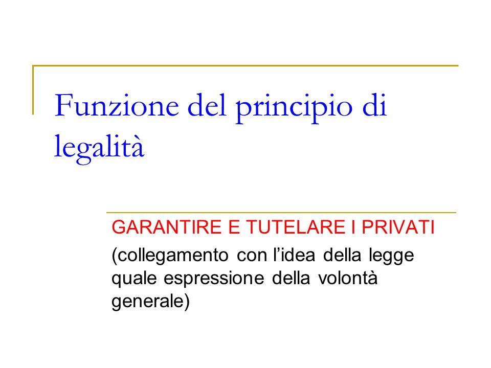 Funzione del principio di legalità