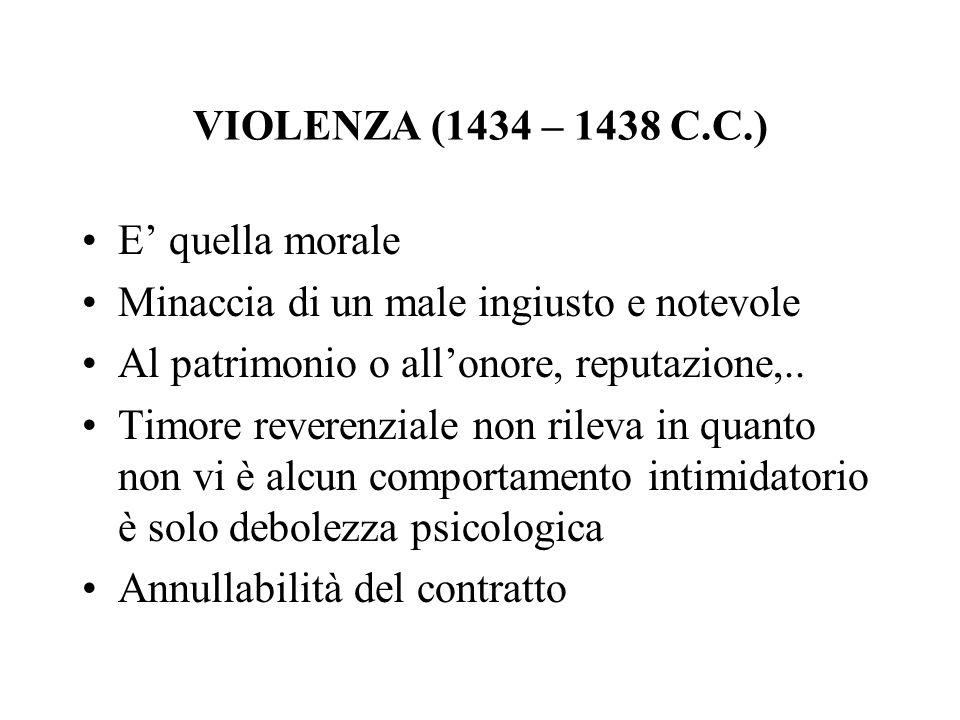 VIOLENZA (1434 – 1438 C.C.) E' quella morale. Minaccia di un male ingiusto e notevole. Al patrimonio o all'onore, reputazione,..