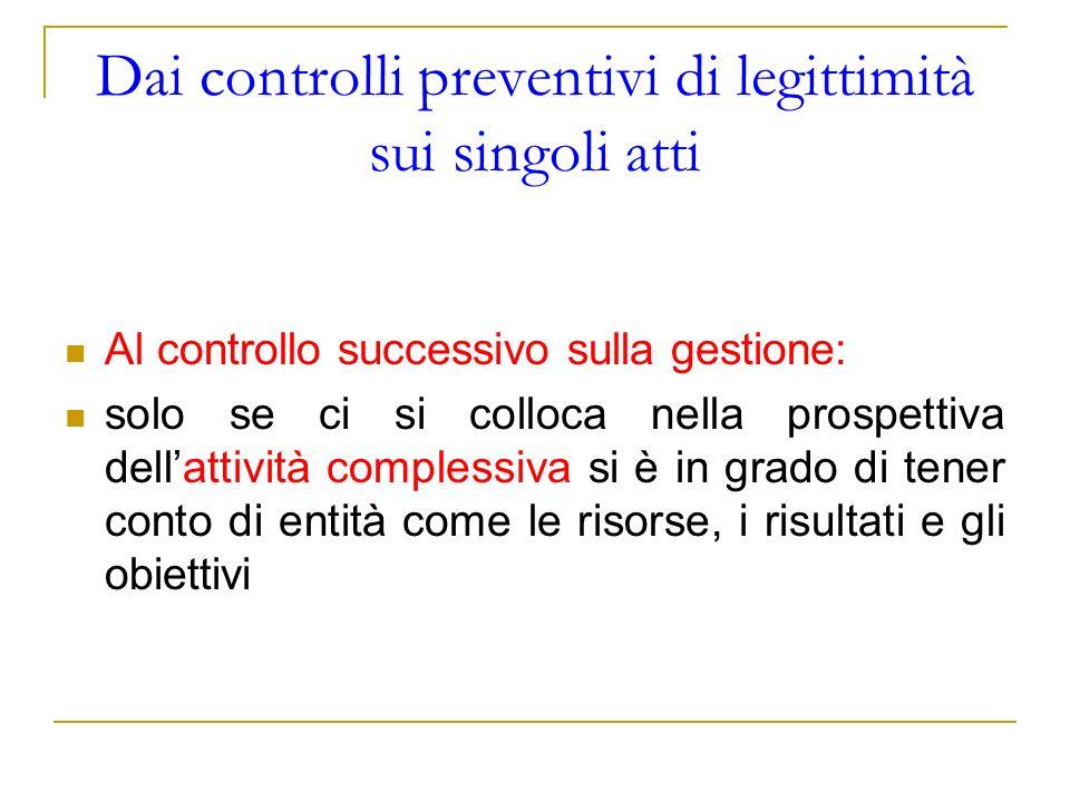 Dai controlli preventivi di legittimità sui singoli atti