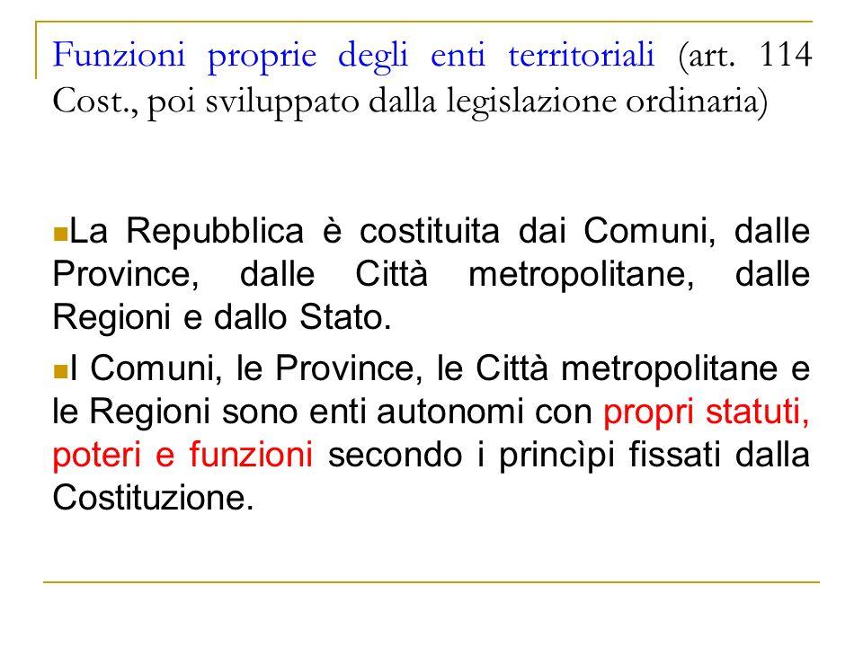 Funzioni proprie degli enti territoriali (art. 114 Cost