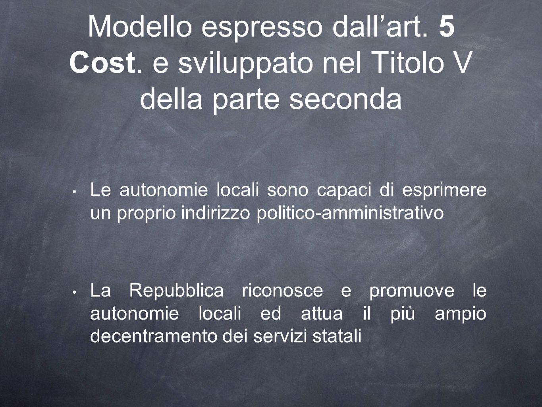 Modello espresso dall'art. 5 Cost