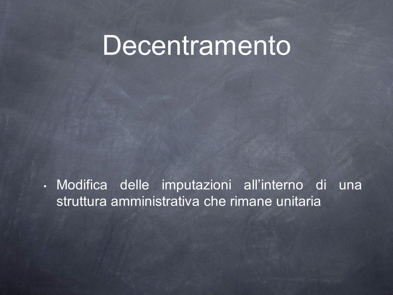 Decentramento Modifica delle imputazioni all'interno di una struttura amministrativa che rimane unitaria.