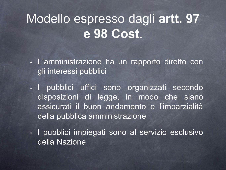 Modello espresso dagli artt. 97 e 98 Cost.