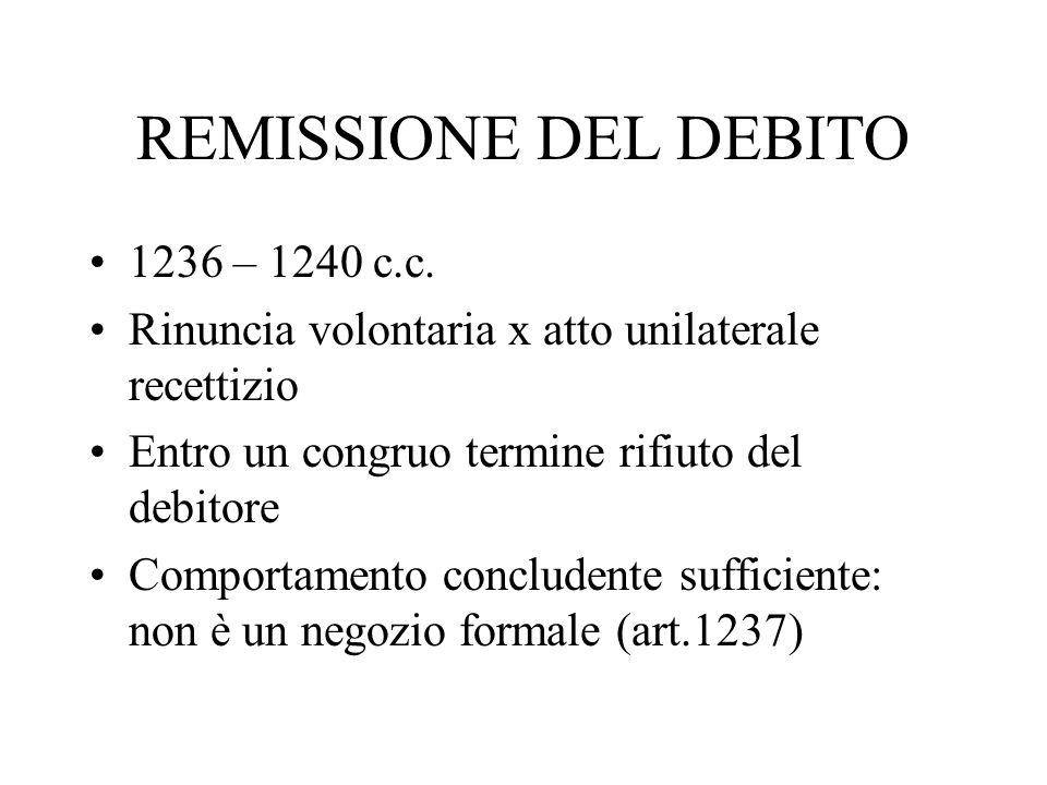REMISSIONE DEL DEBITO 1236 – 1240 c.c.