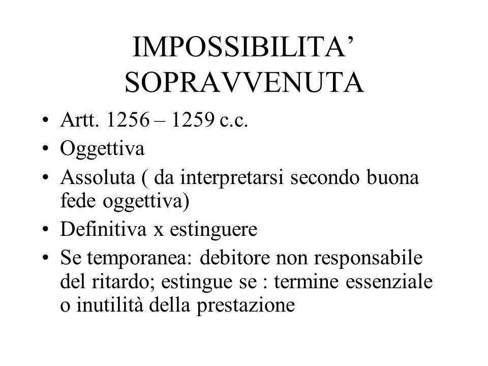 IMPOSSIBILITA' SOPRAVVENUTA