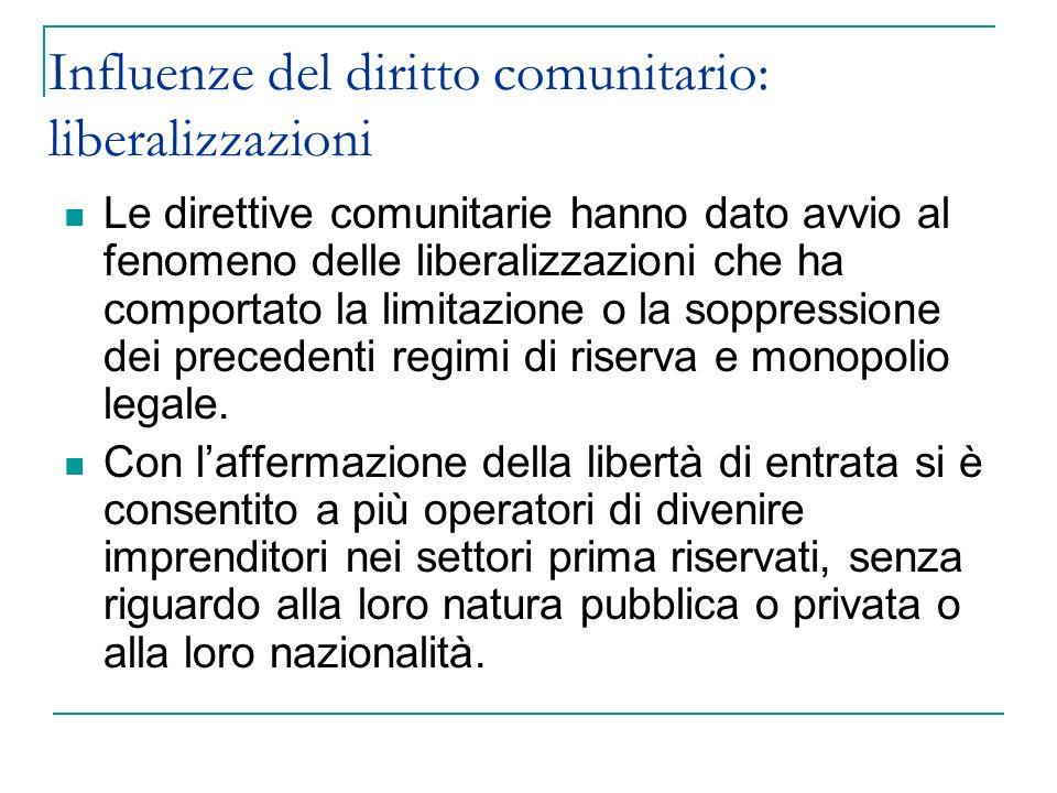 Influenze del diritto comunitario: liberalizzazioni