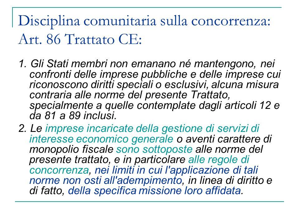 Disciplina comunitaria sulla concorrenza: Art. 86 Trattato CE:
