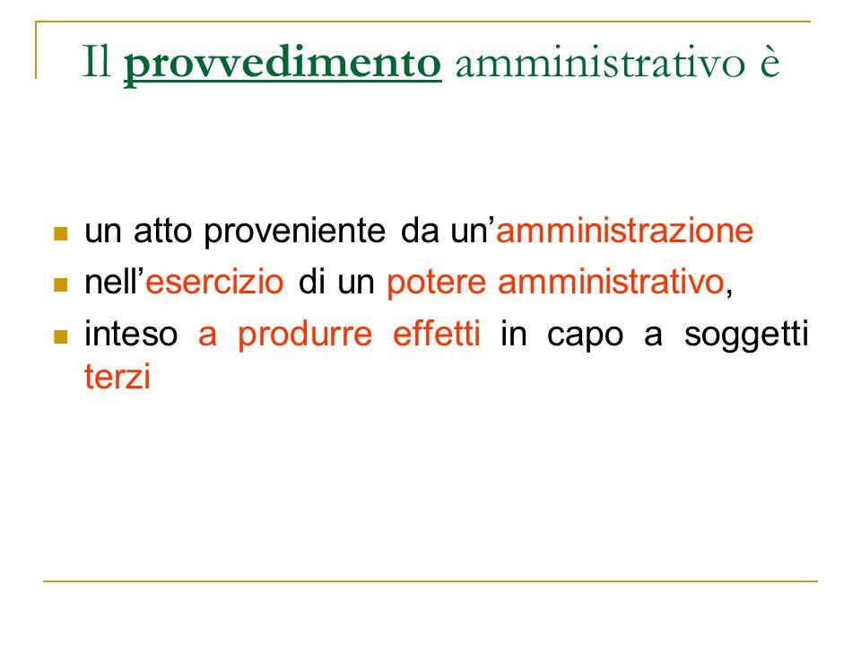 Il provvedimento amministrativo è