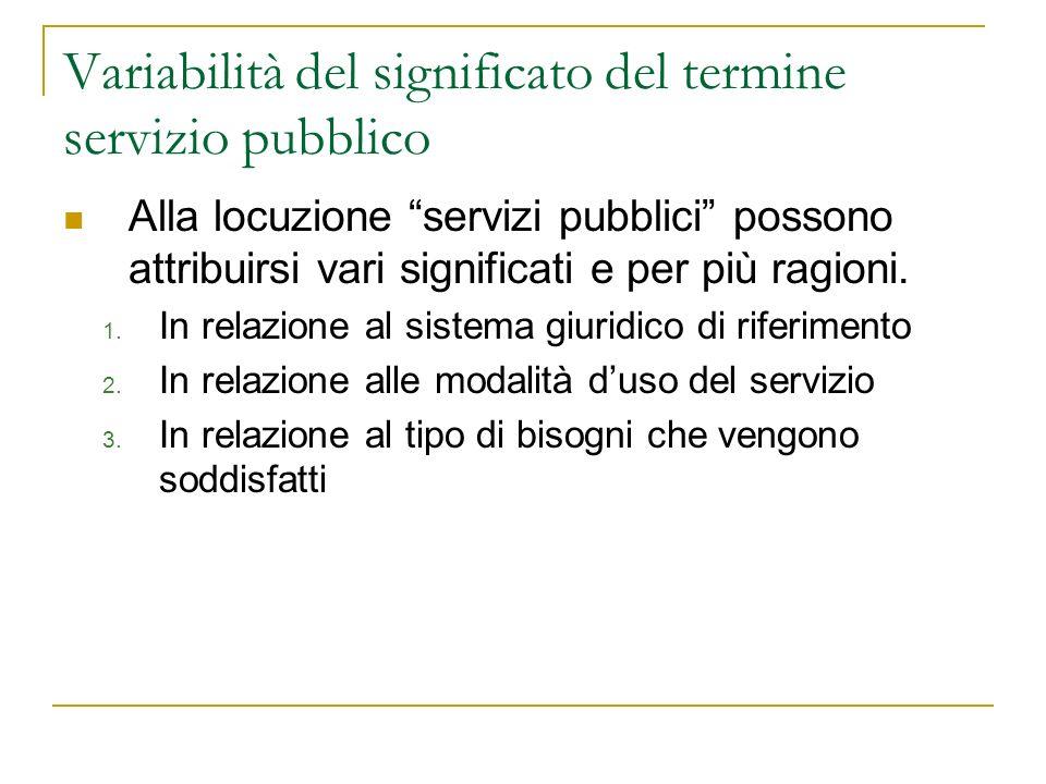 Variabilità del significato del termine servizio pubblico