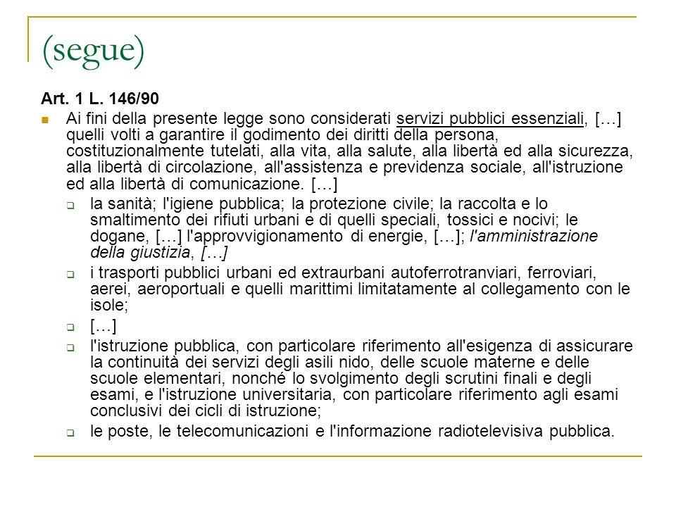 (segue) Art. 1 L. 146/90.