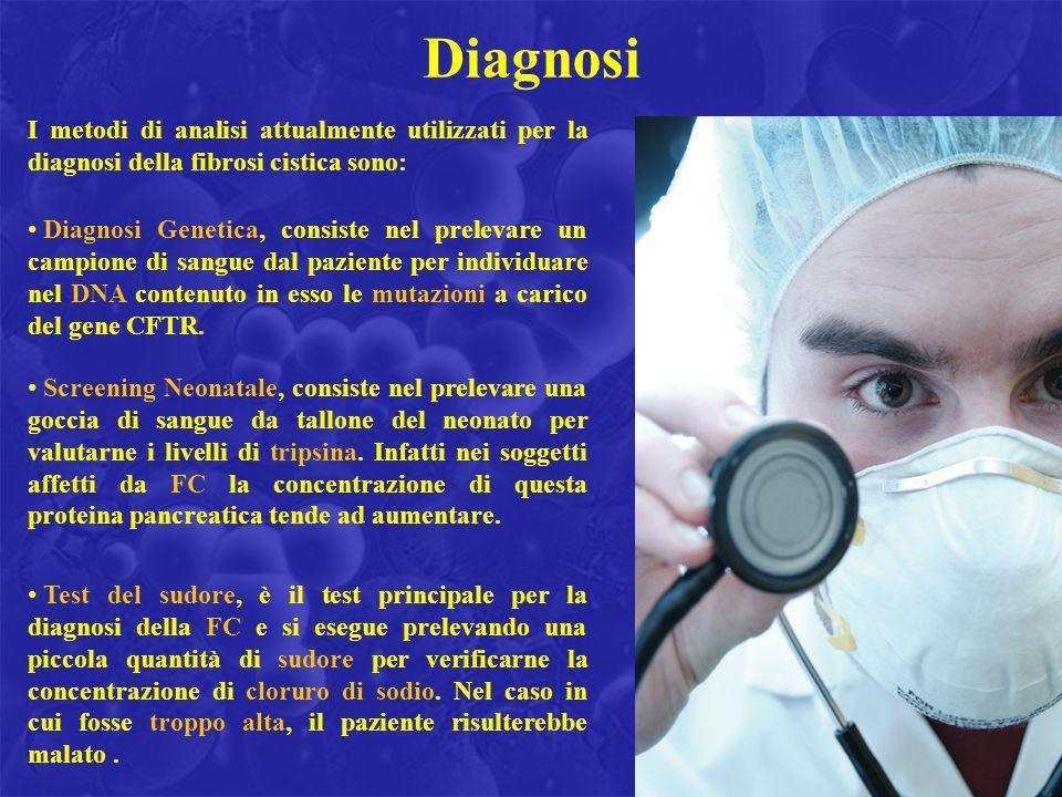 DiagnosiI metodi di analisi attualmente utilizzati per la diagnosi della fibrosi cistica sono: