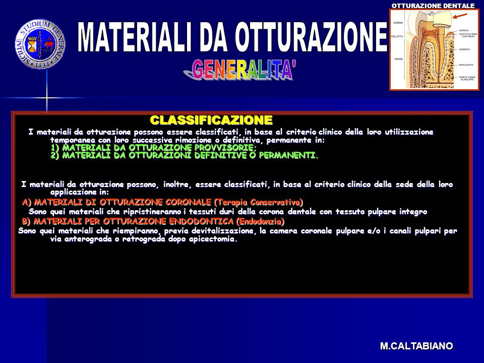 MATERIALI DA OTTURAZIONE