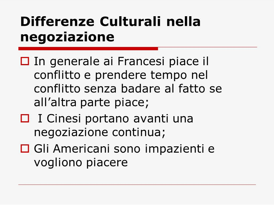 Differenze Culturali nella negoziazione