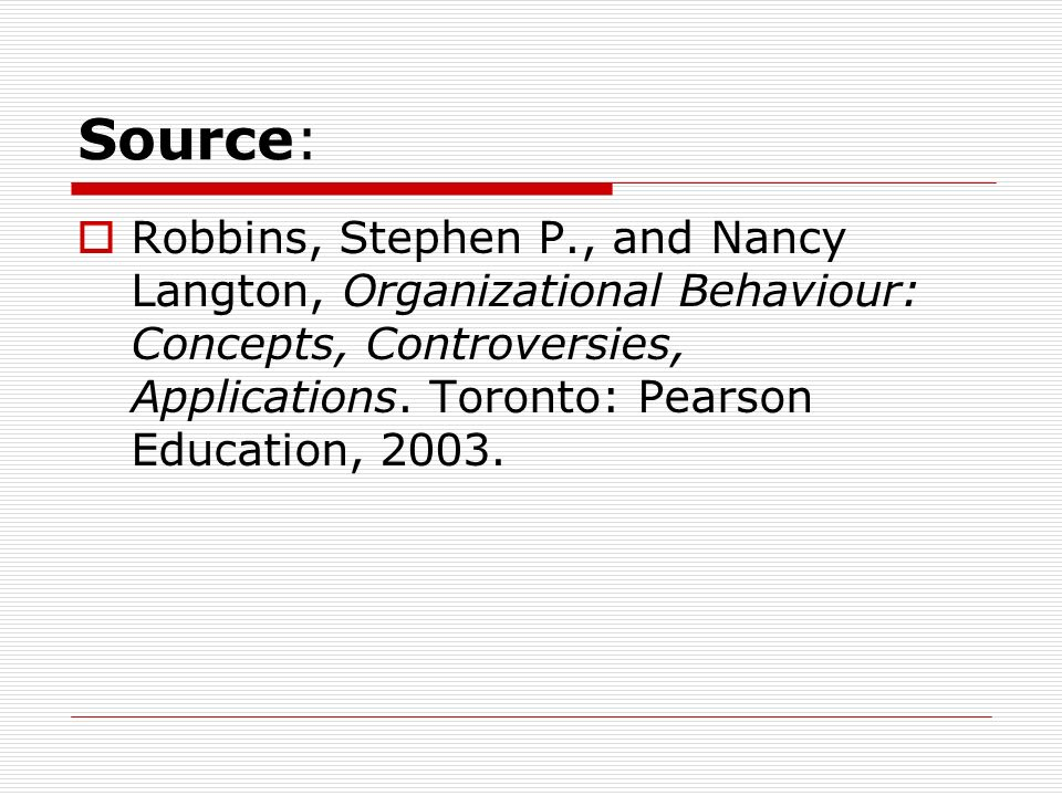 Source:Robbins, Stephen P., and Nancy Langton, Organizational Behaviour: Concepts, Controversies, Applications.