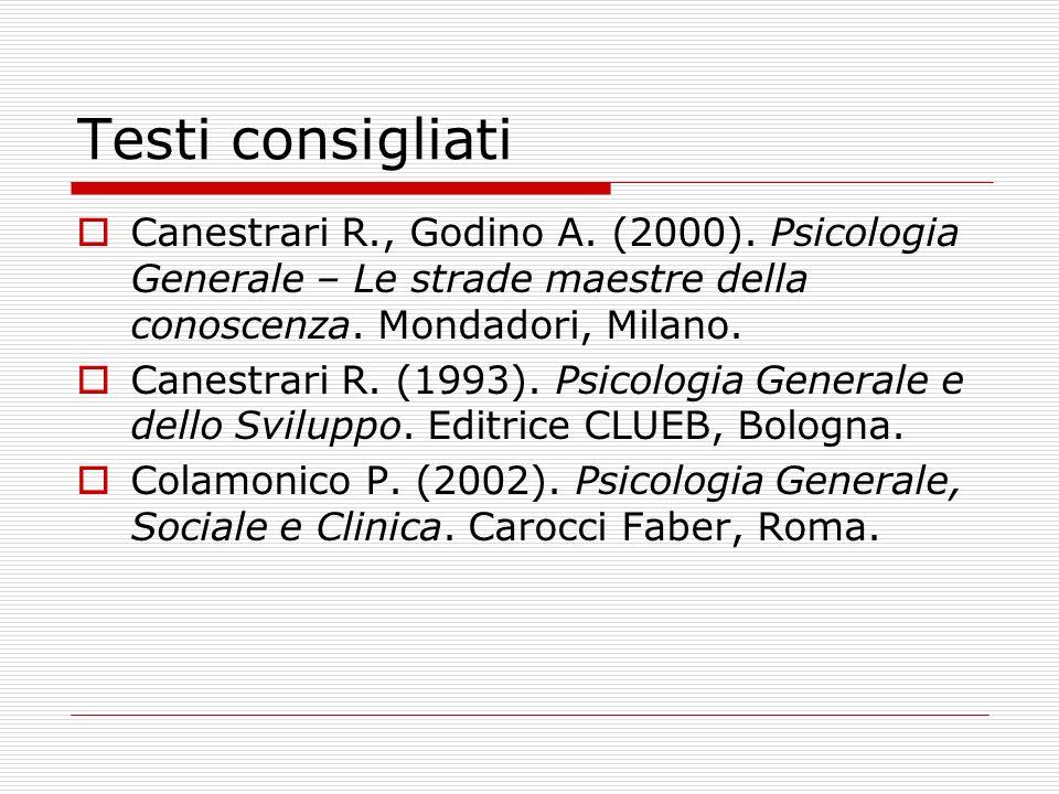 Testi consigliati Canestrari R., Godino A. (2000). Psicologia Generale – Le strade maestre della conoscenza. Mondadori, Milano.