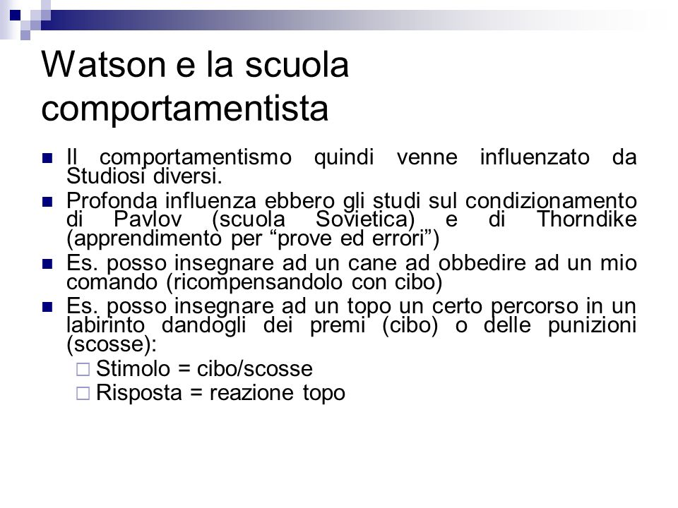 Watson e la scuola comportamentista