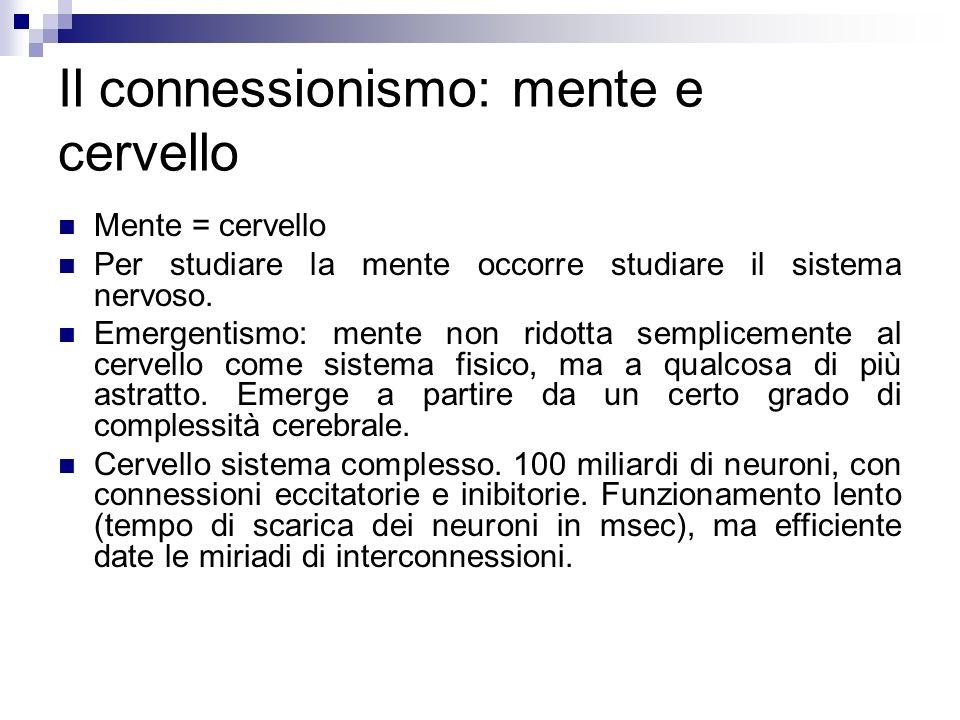 Il connessionismo: mente e cervello
