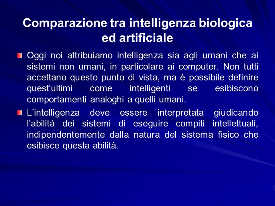 Comparazione tra intelligenza biologica ed artificiale