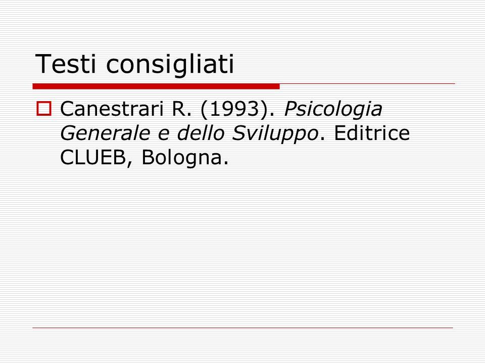 Testi consigliati Canestrari R. (1993). Psicologia Generale e dello Sviluppo.