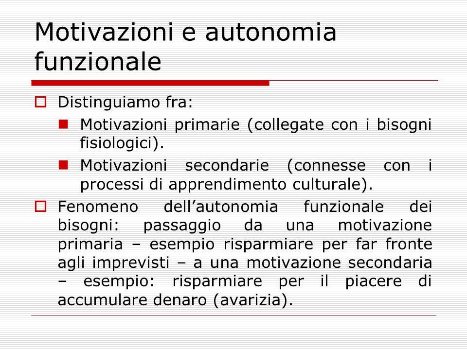 Motivazioni e autonomia funzionale