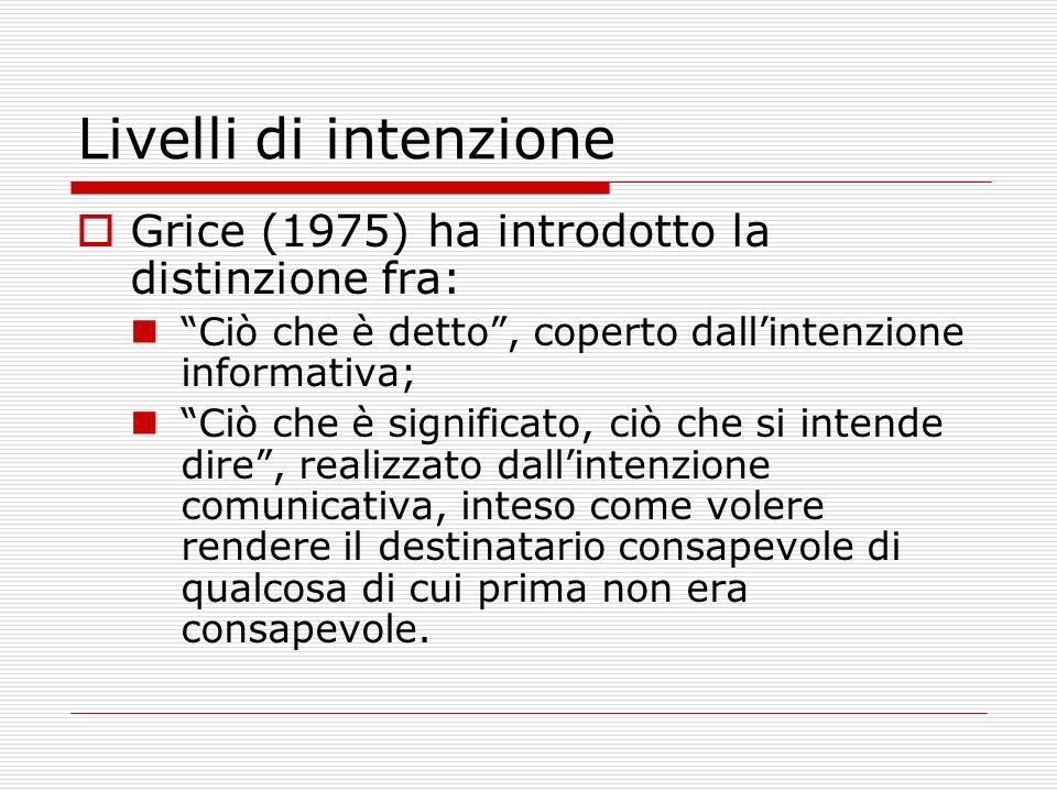 Livelli di intenzione Grice (1975) ha introdotto la distinzione fra: