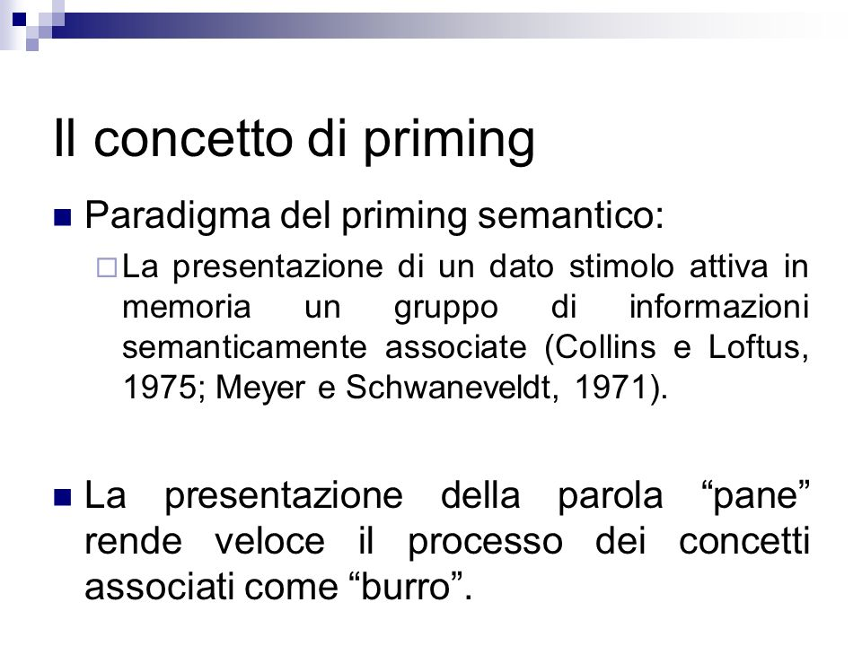 Il concetto di priming Paradigma del priming semantico: