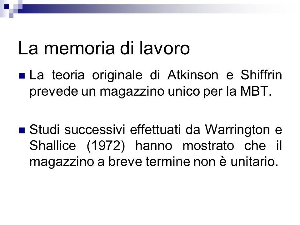 La memoria di lavoro La teoria originale di Atkinson e Shiffrin prevede un magazzino unico per la MBT.